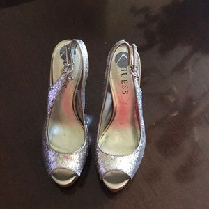 Guess silver and gold Platform Heels
